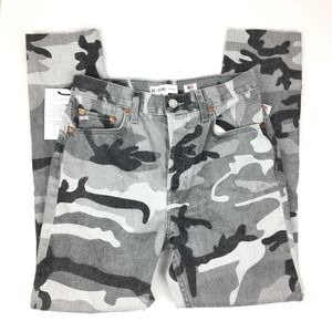 NWT Re/Done High Rise Ankle Crop Stretch Gray Camo